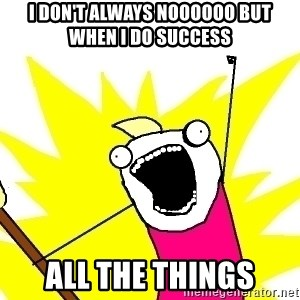 X ALL THE THINGS - i don't always noooooo but when I do success ALL the things
