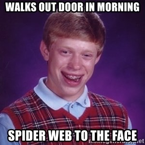 Bad Luck Brian - Walks out door in morning spider web to the face