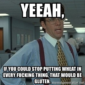 That'd be great guy - Yeeah, if you could stop putting wheat in every FUCKING thing, that would be GLUTEN.