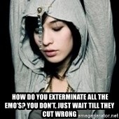 EMO IDIOT LAURA MATSUE -   How do you exterminate all the emo's? You don't, Just wait till they cut wrong