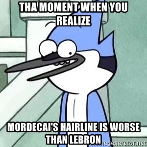 The WTF Mordecai - tha moment when you realize mordecai's hairline is worse than lebron