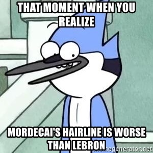 The WTF Mordecai - that moment when you realize mordecai's hairline is worse than lebron