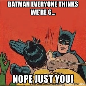 batman slap robin - batman everyone thinks we're g... nope just you!