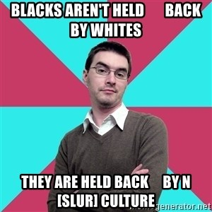 Privilege Denying Dude - blacks aren't held       back by whites they are held back     by n[slur] culture