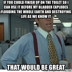 That would be great - IF YOU COULD FINISH UP ON THE TOILET SO I CAN USE IT BEFORE MY BLADDER EXPLODES FLOODING THE WHOLE EARTH AND DESTROYING LIFE AS WE KNOW IT THAT WOULD BE GREAT
