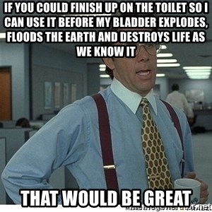 That would be great - IF YOU COULD FINISH UP ON THE TOILET SO I CAN USE IT BEFORE MY BLADDER EXPLODES, FLOODS THE EARTH AND DESTROYS LIFE AS WE KNOW IT THAT WOULD BE GREAT