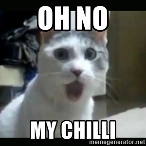 Surprised Cat - OH NO MY CHILLI