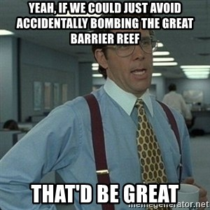 Yeah that'd be great... - Yeah, if we could just avoid accidentally bombing the Great Barrier Reef That'd be great