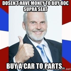 Idiot Anti-Communist Guy - dosen't have money to buy 80€ Supra seat Buy a car to parts..