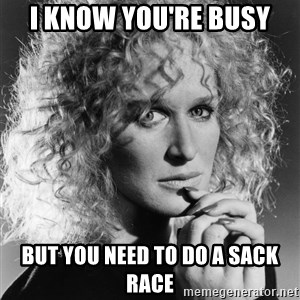 Latte Lies - i know you're busy but you need to do a sack race
