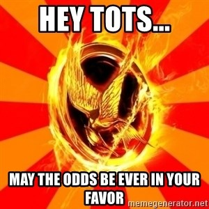 Typical fan of the hunger games - Hey tots... may the odds be ever in your favor
