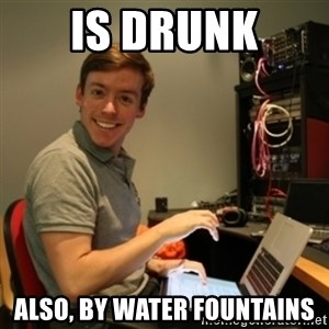 Ridiculously Photogenic Journalist - Is drunk also, by water fountains