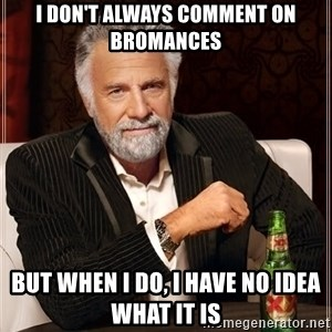 The Most Interesting Man In The World - I DON'T ALWAYS COMMENT ON BROMANCES BUT WHEN I DO, I HAVE NO IDEA WHAT IT IS