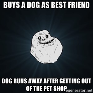 Forever Alone - Buys a dog as best friend Dog runs away after getting out of the pet shop