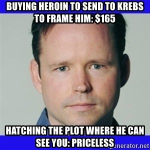krebsonsecurity - buying heroin to send to krebs to frame him: $165 Hatching the plot where he can see you: Priceless