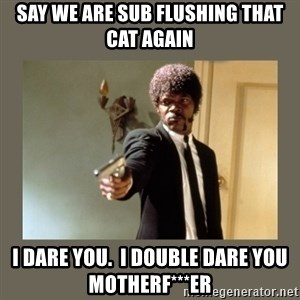 doble dare you  - say we are sub flushing that cat again i dare you.  i double dare you motherf***er
