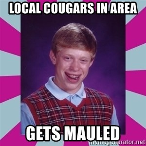 brian bad news - LOCAL COUGARS IN AREA  GETS MAULED