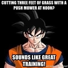 goku - cutting three feet of grass with a push mower at noon? sounds like great training!
