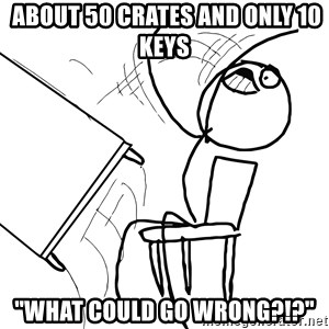 """Desk Flip Rage Guy -  about 50 crates and only 10 keys """"WHAT COULD GO WRONG?!?"""""""