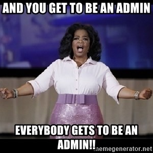free giveaway oprah - and you get to be an admin everybody gets to be an admin!!