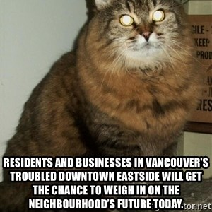 ZOE GREAVES DTES VANCOUVER -  Residents and businesses in Vancouver's troubled Downtown Eastside will get the chance to weigh in on the neighbourhood's future today.