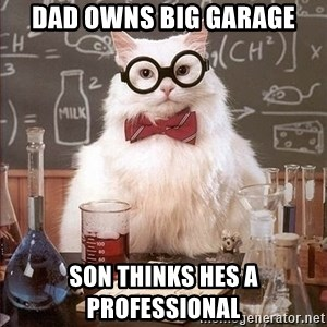 Chemistry Cat - dad owns big garage son thinks hes a professional
