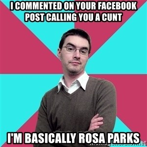 Privilege Denying Dude - I commented on your facebook post calling you a cunt I'm basically Rosa Parks