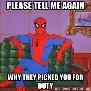 spider manf - Please tell me again  Why they picked you for duty