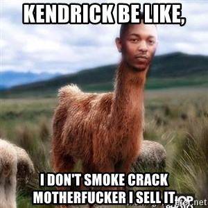 Girl, Im Kendrick Llama - Kendrick be like, I don't smoke crack motherfucker I sell it