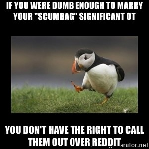 """Shufflin' Puffin - If you were dumb enough to marry your """"scumbag"""" significant ot You don't have the right to call them out over reddit"""