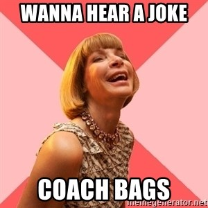 Amused Anna Wintour - Wanna hear a joke  Coach bags