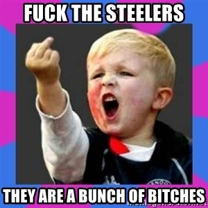 Kid middle finger - FUCK THE STEELERS THEY ARE A BUNCH OF BITCHES