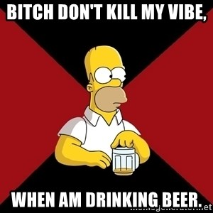 Homer Jay Simpson - Bitch don't kill my vibe, when am drinking beer.