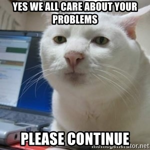 Serious Cat - yes we all care about your problems please continue