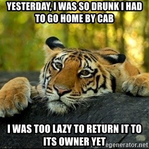 Confession Tiger - Yesterday, I was so drunk I had to go home by cab I was too lazy to return it to its owner yet