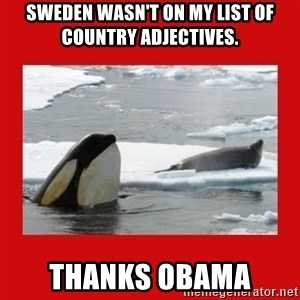 Thanks Obama! - Sweden wasn't on my list of country adjectives. THANKS OBAMA