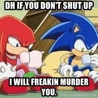 sonic - DH IF YOU DON'T SHUT UP I WILL FREAKIN MURDER YOU.