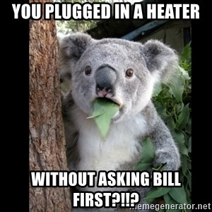 Koala can't believe it - You plugged in a heater without asking bill first?!!?