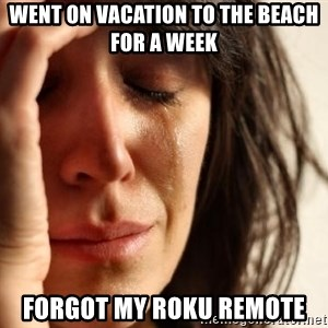 First World Problems - Went on vacation to the beach for a week forgot my roku remote