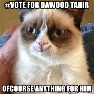 Grumpy Cat Happy Version - #Vote for Dawood Tahir ofcourse anything for him