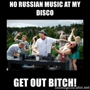 DJ pushes girl in the face - NO RUSSIAN MUSIC AT MY DISCO GET OUT BITCH!