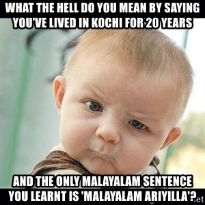 Skeptical Baby Whaa? - What the hell do you mean by saying you've lived in kochi for 20 years And the only malayalam sentence you learnt is 'malayalam ariyilla'?