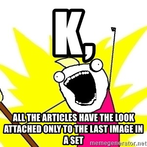 X ALL THE THINGS - k, all the articles have the look attached only to the last image in a set