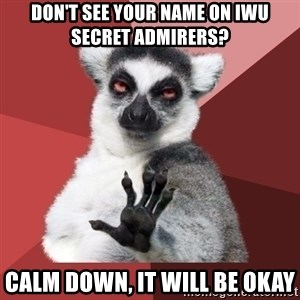 Chill Out Lemur - Don't see your name on IWU Secret Admirers? Calm down, it will be okay