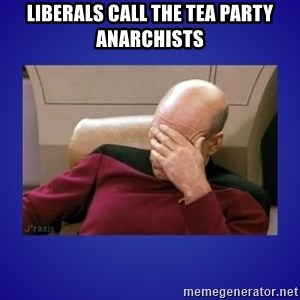 Picard facepalm  - Liberals call the Tea Party anarchists