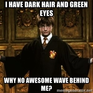 Harry Potter Come At Me Bro - I have dark hair and green eyes Why no awesome wave behind me?