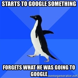 Socially Awkward Penguin - Starts to google something forgets what he was going to google