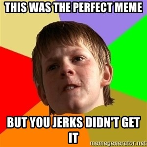Angry School Boy - This was the perfect meme but you jerks didn't get it