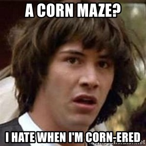 Conspiracy Keanu - A corn maze? i hate when I'm corn-ered