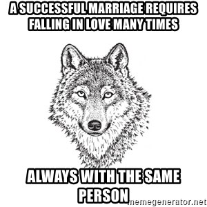 Sarcastic Wolf - A successful marriage requires falling in love many times always with the same person